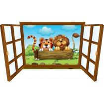 Sticker enfant fenêtre lion et tigre sur tronc d'arbre