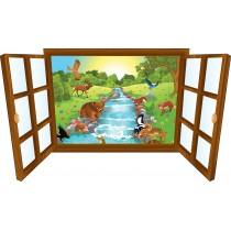 Sticker enfant fenêtre ours et ses amis a la riviere