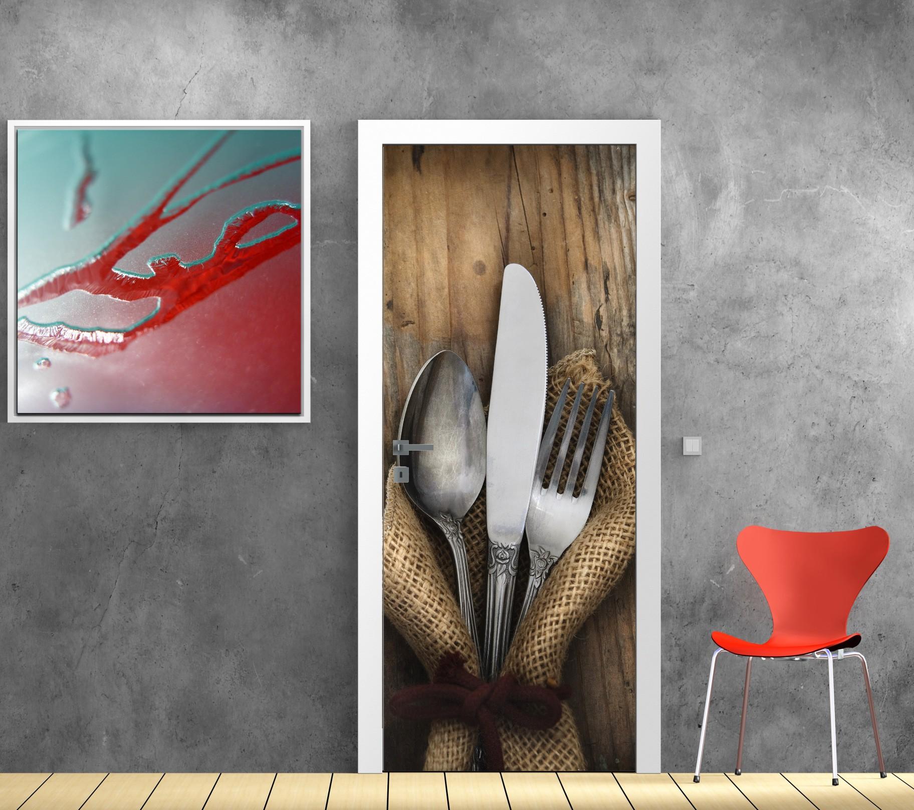 Papier Peint Pour Cuisine papier peint porte déco - couverts - art déco stickers