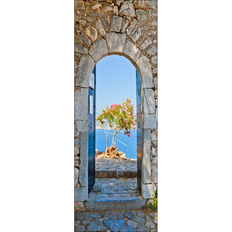 Sticker porte plane vue sur mer art d co stickers for Stickers deco pour porte