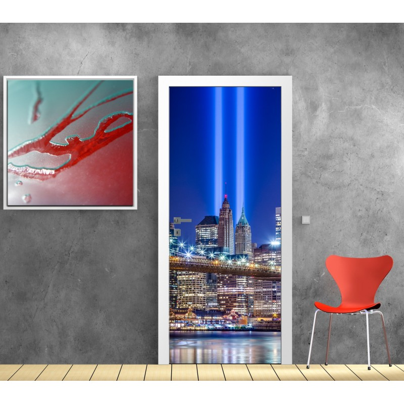 Papier peint porte d co new york la nuit art d co stickers for Decoration porte new york
