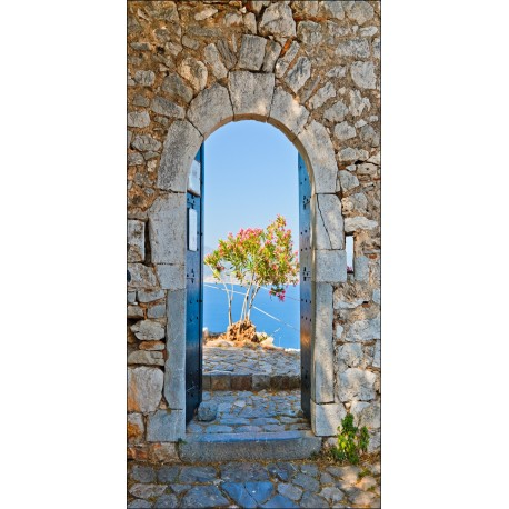 Sticker mural trompe l 39 oeil vue sur mer art d co stickers for Brise vue trompe l oeil