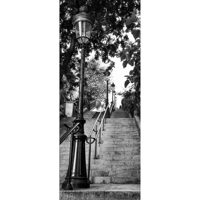 Papier peint porte d co lampadaire ruelle noir blanc art d co stickers for Papier peint de porte