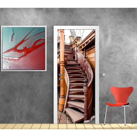 papier peint porte d co escalier sur bateau art d co stickers. Black Bedroom Furniture Sets. Home Design Ideas
