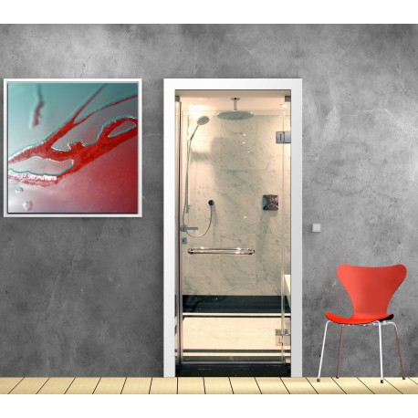Papier peint porte d co cabine de douche art d co stickers for Papier peint de porte