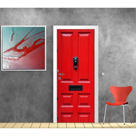 Papier Peint Porte Déco Porte Rouge Art Déco Stickers - Papier peint porte