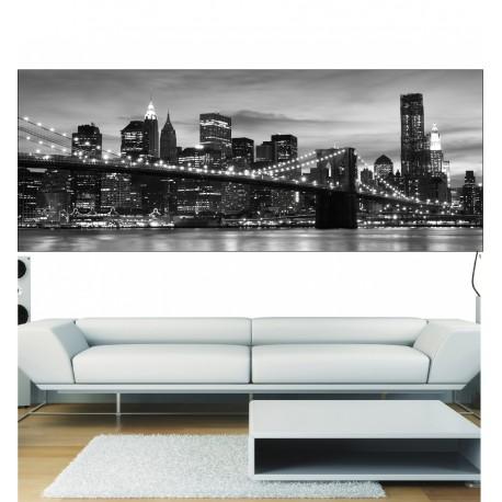 Stickers panoramique pont de Brooklyn noir & blanc