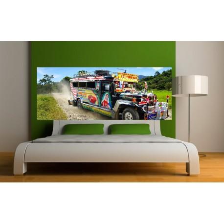 papier peint t te de lit bus tuning art d co stickers. Black Bedroom Furniture Sets. Home Design Ideas
