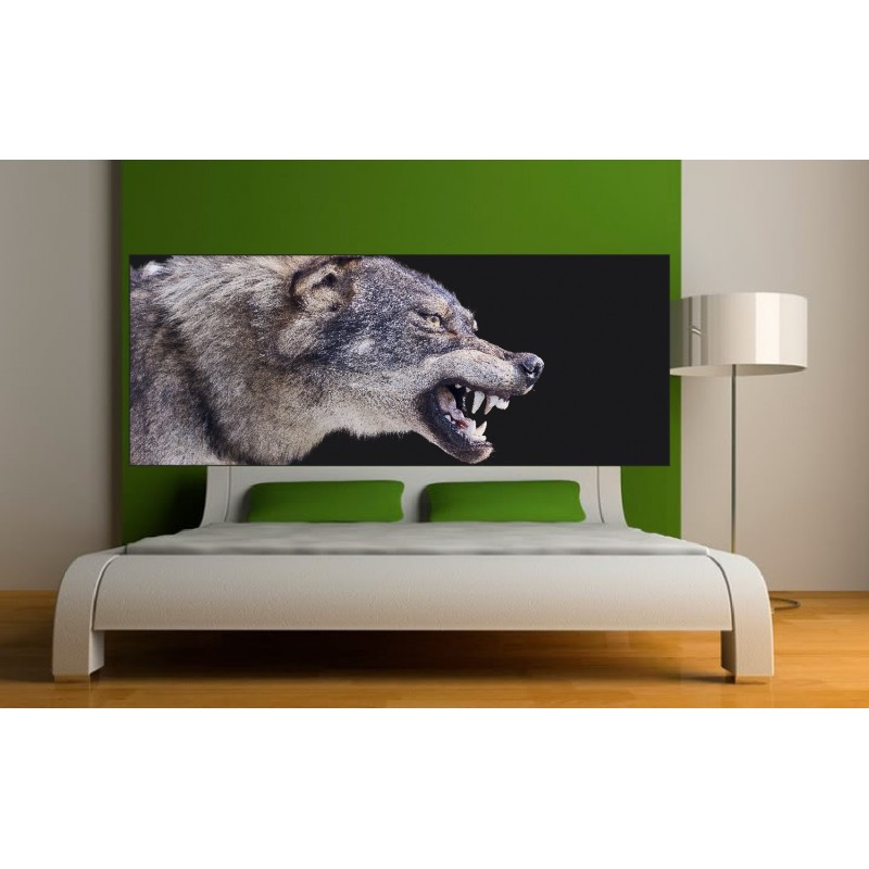 papier peint t te de lit loup art d co stickers. Black Bedroom Furniture Sets. Home Design Ideas