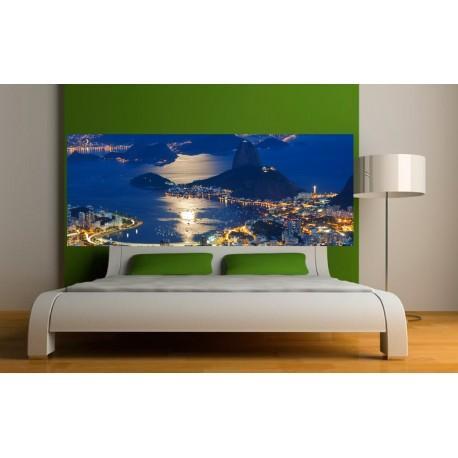 papier peint t te de lit vue sur la ville de nuit art d co stickers. Black Bedroom Furniture Sets. Home Design Ideas
