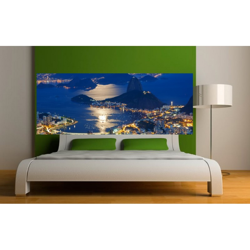 papier peint t te de lit vue sur la ville de nuit art d co stickers. Black Bedroom Furniture Sets. Home Design Ideas