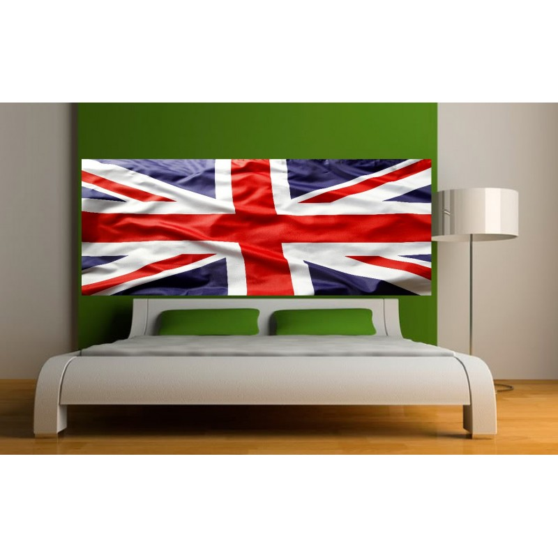 papier peint t te de lit drapeau anglais art d co stickers. Black Bedroom Furniture Sets. Home Design Ideas