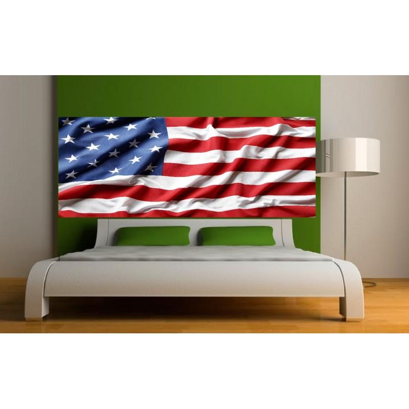 papier peint t te de lit drapeau am ricain art d co stickers. Black Bedroom Furniture Sets. Home Design Ideas