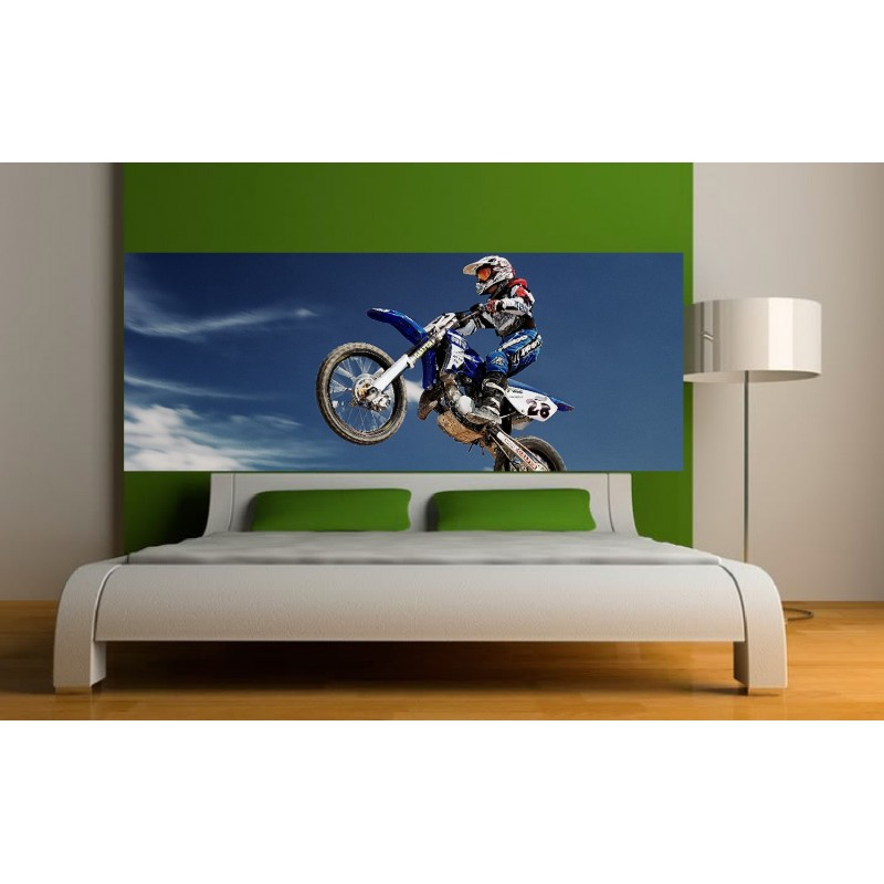 papier peint t te de lit moto cross art d co stickers. Black Bedroom Furniture Sets. Home Design Ideas