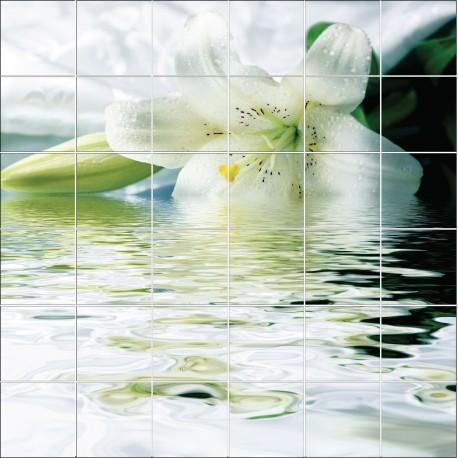 Stickers carrelage mural d co fleur sur l 39 eau art d co stickers - Stickers pour salle de bain sur carrelage ...