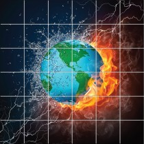 Stickers carrelage mural déco Terre en feu