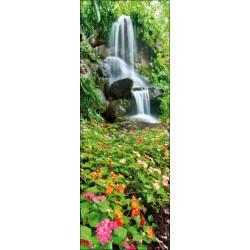 Sticker pour porte plane cascade et fleurs