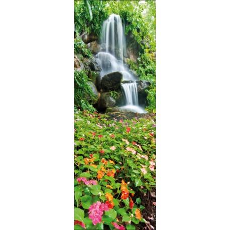 Sticker pour porte plane Fleurs et eau
