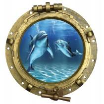 Sticker Hublot Dauphins vue sous marine