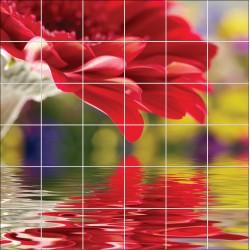 Stickers carrelage mural Fleur reflet