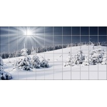 Stickers carrelage mural Neige montagne