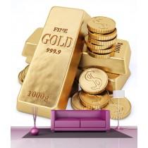 Stickers géant déco : Lingots et pièces d'or