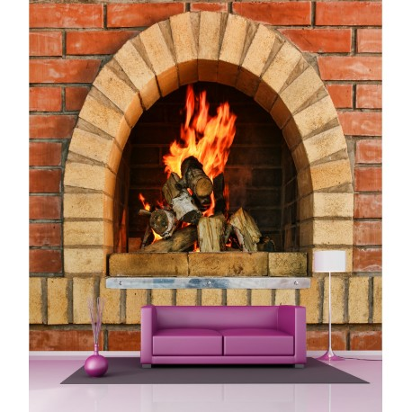 Stickers Geant Deco Cheminee Feu De Bois Art Deco Stickers
