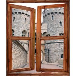 Stickers fenêtre trompe l'oeil Chateau fort