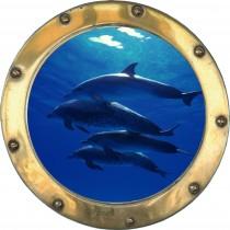 Sticker Hublot fond marin Dauphins