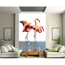 Sticker mural géant Flamand rose