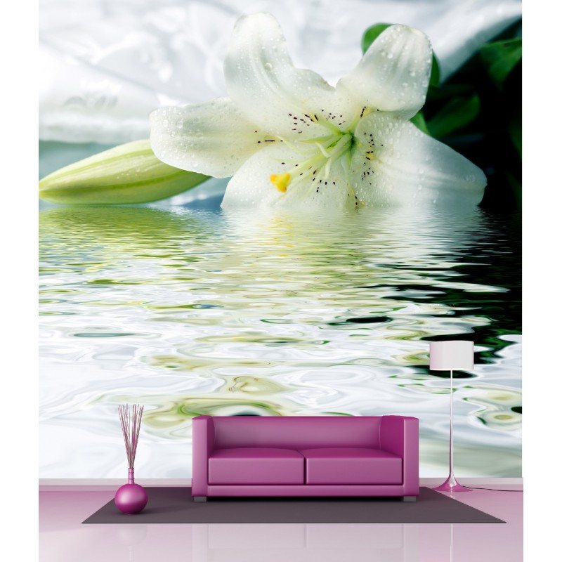 papier peint g ant d co fleur sur eau 250x250cm art d co stickers. Black Bedroom Furniture Sets. Home Design Ideas