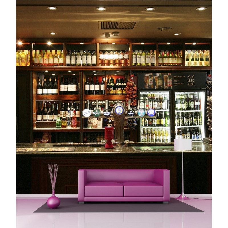 papier peint g ant d co comptoir de bar 250x250cm art d co stickers. Black Bedroom Furniture Sets. Home Design Ideas