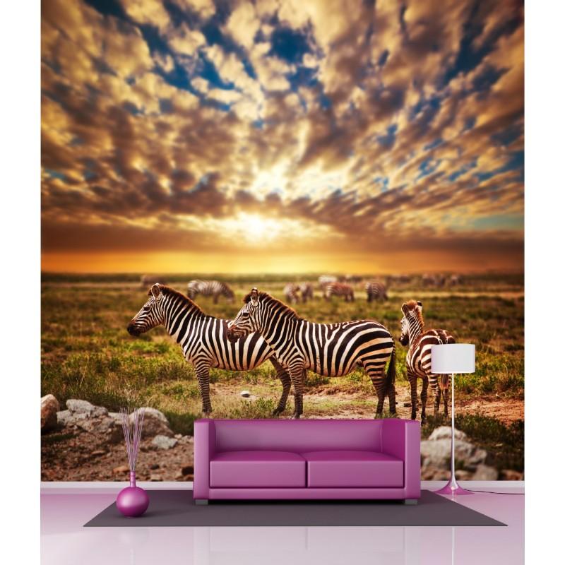 papier peint g ant d co z bre en savane 250x250cm art d co stickers. Black Bedroom Furniture Sets. Home Design Ideas