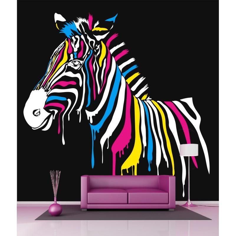 papier peint g ant d co z bre color 250x250cm art d co stickers. Black Bedroom Furniture Sets. Home Design Ideas