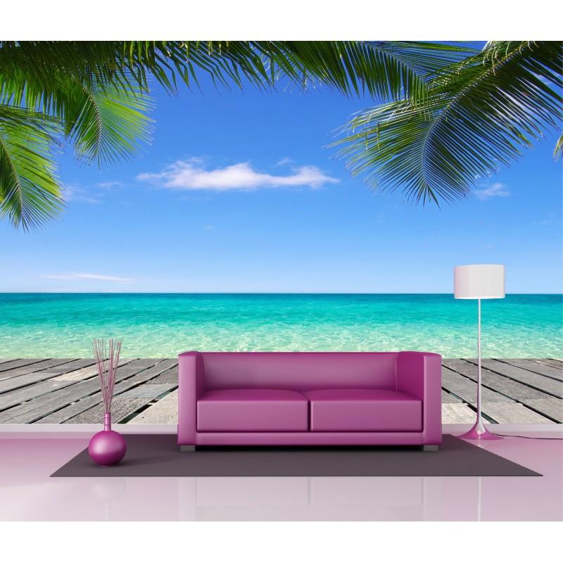 papier peint g ant d co plage paradisiaque 250x360cm art d co stickers. Black Bedroom Furniture Sets. Home Design Ideas