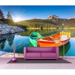 Papier peint géant déco barques sur l'eau 250x360cm