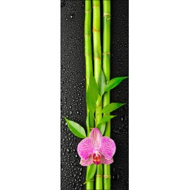 Sticker pour porte plane Orchidée Bambous