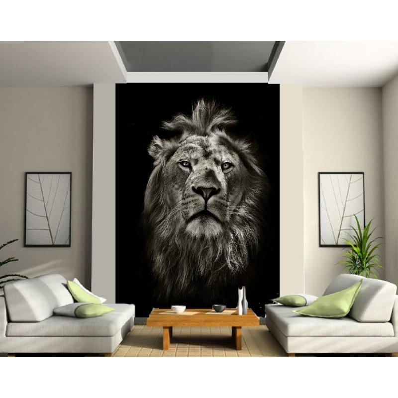 papier peint grande largeur lion art d co stickers. Black Bedroom Furniture Sets. Home Design Ideas