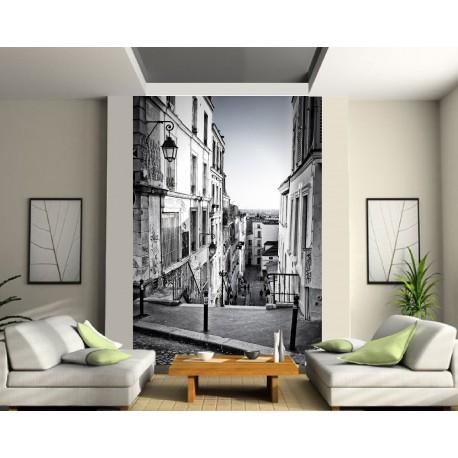 Papier Peint Grande Largeur Ruelle Noir Et Blanc Art Deco Stickers