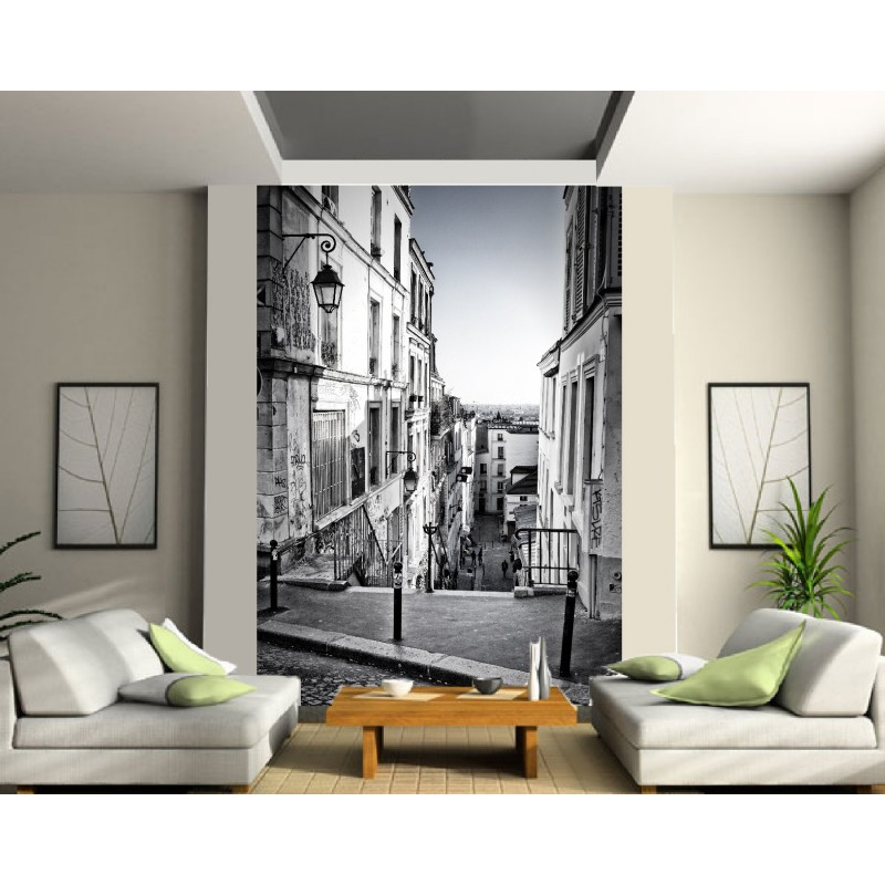 papier peint grande largeur ruelle noir et blanc art d co stickers. Black Bedroom Furniture Sets. Home Design Ideas