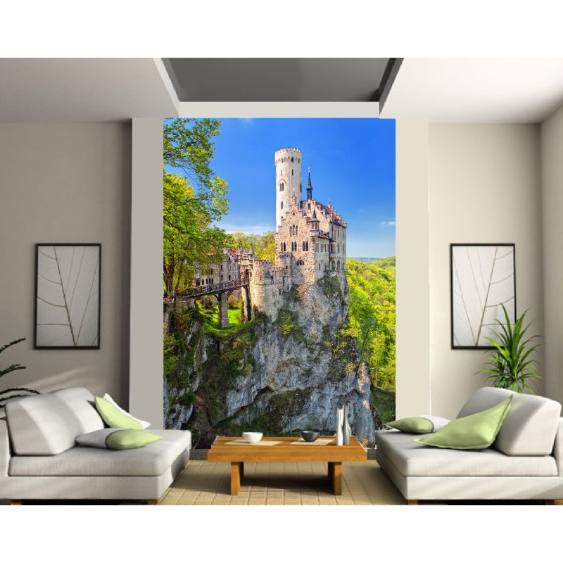 papier peint grande largeur chateau sur la falaise art d co stickers. Black Bedroom Furniture Sets. Home Design Ideas