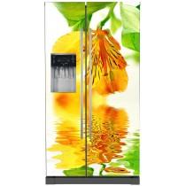 Stickers frigo américain Fleur jaune