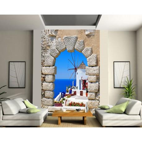papier peint g ant moulin bord de mer art d co stickers. Black Bedroom Furniture Sets. Home Design Ideas