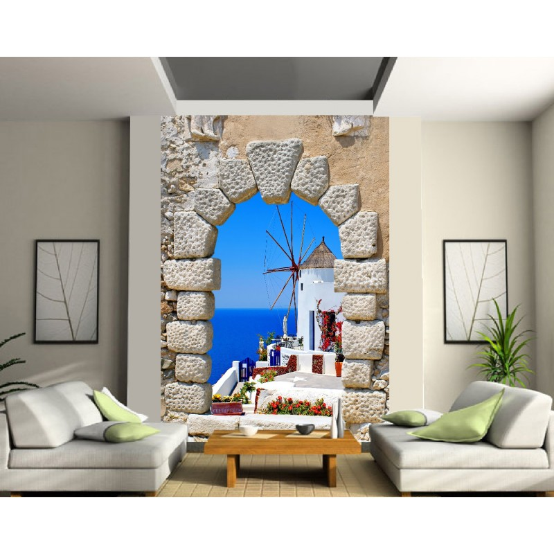 papier peint g ant moulin bord de mer art d co stickers. Black Bedroom Furniture Sets. Home Design Ideas