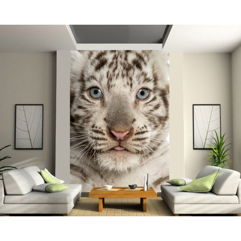 papier peint g ant b b tigre art d co stickers. Black Bedroom Furniture Sets. Home Design Ideas