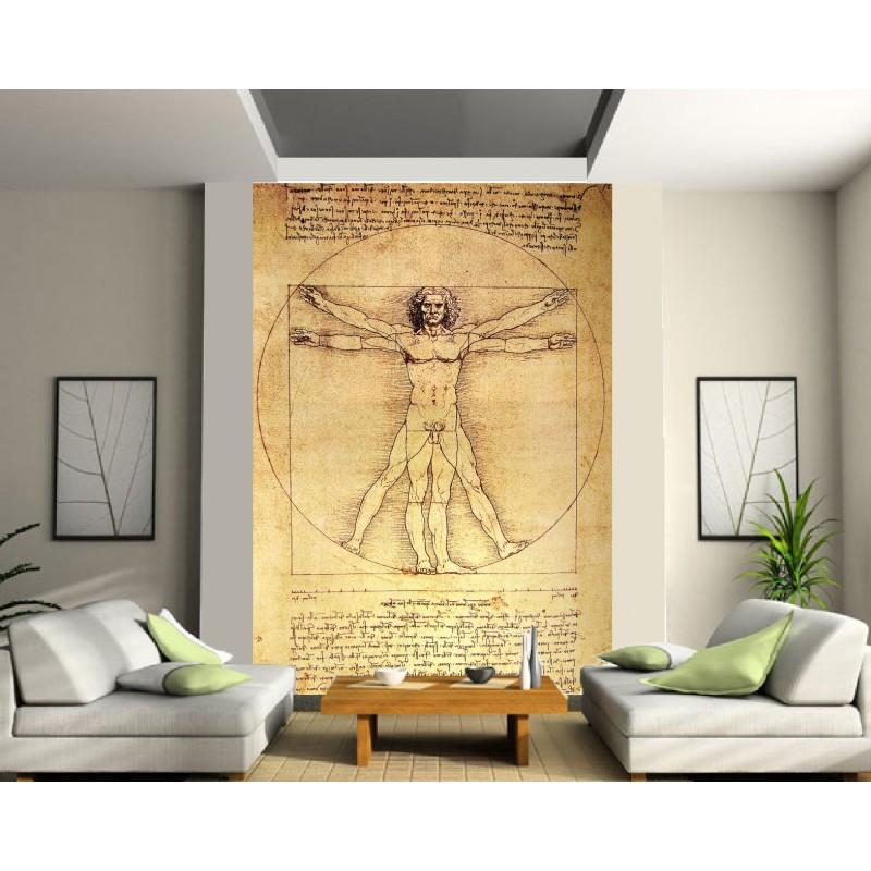 papier peint g ant l 39 homme de vitruve art d co stickers. Black Bedroom Furniture Sets. Home Design Ideas