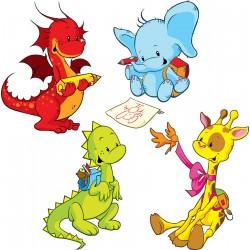 Stickers kit enfant planche de 4 stickers animaux