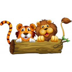 Stickers enfant Lion Tigre