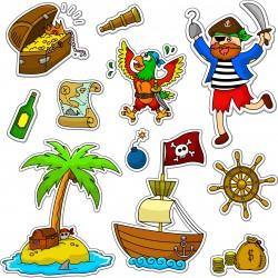 Stickers kit enfant planche de stickers Pirate