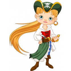 Stickers enfant Femme capitaine Pirate